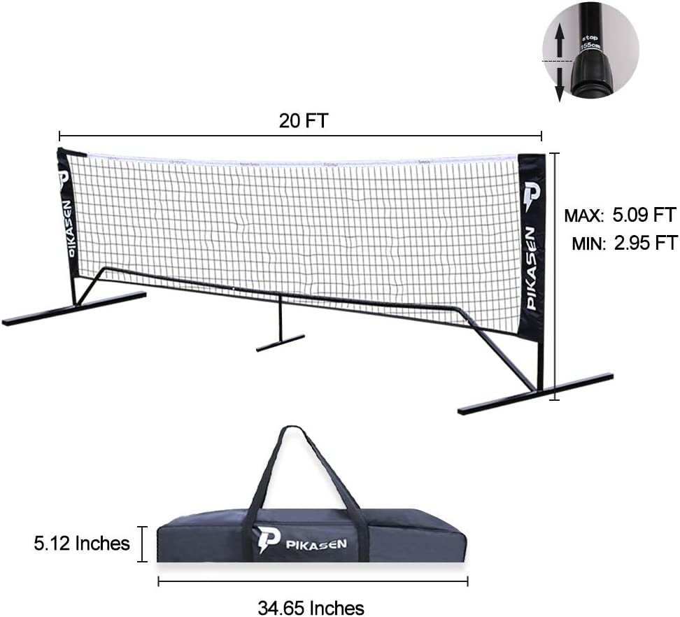 PIKASEN Portable Badminton Net Set - for Tennis, Soccer Tennis, Pickleball, Kids Volleyball - Easy Setup Nylon Sports Net with Poles : Sports & Outdoors