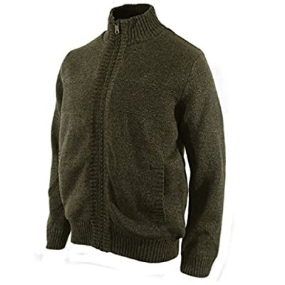 Boston Traders Mens Cable Knit Sweater with Sherpa Lining (Medium, Olive) at Men's Clothing store