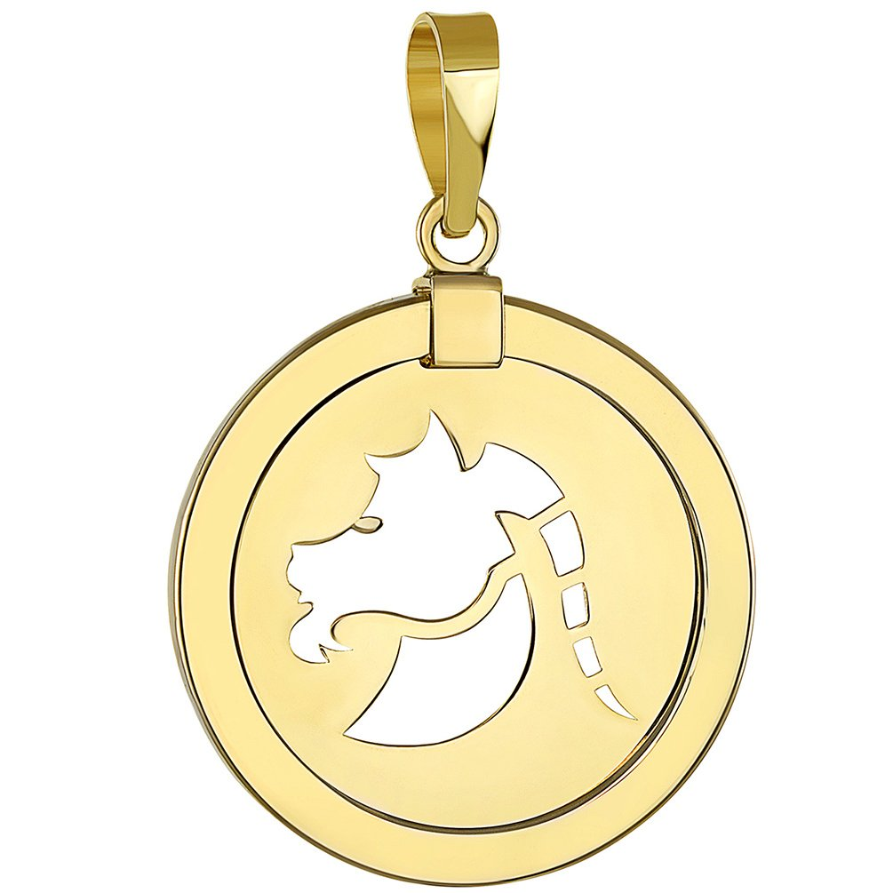 14K Yellow Gold Reversible Round Capricorn Goat Zodiac Sign Pendant with Figaro Chain Necklace