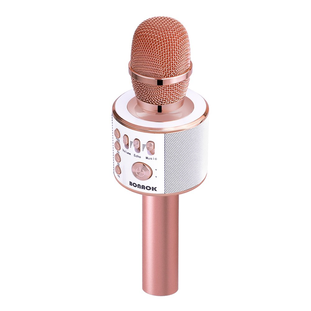 BONAOK Wireless Bluetooth Karaoke Microphone,3-in-1 Magic Sound Portable Handheld Karaoke Mic Speaker Machine Home Party Birthday for iPhone/Android/iPad/Sony/PC/All Smartphone(Rose Gold) by BONAOK