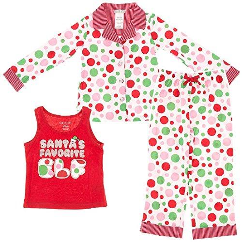 Komar Kids Big Girls'  Winter Dot Elf 3 Piece Pajama Gift Set, White, Medium