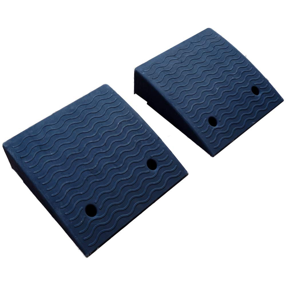 2 pcs Loading Rubber Dock Rubber Curb Ramps Car Slope Ramp(19.7''X19.7''X5.9'')