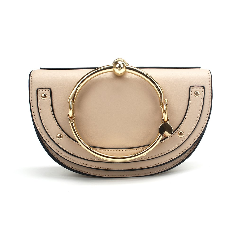 Yoome Women Punk Circular Ring Handle Handbags Small Round Purse Crossbody Bags For Girls - Beige Lune
