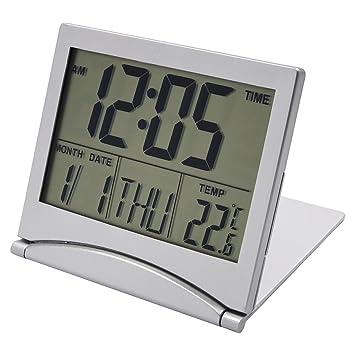 Portátil Despertador de Viaje Reloj Alarma Silencioso, EASEHOME Reloj Digital Función Snooze Relojes Despertadores Digitale