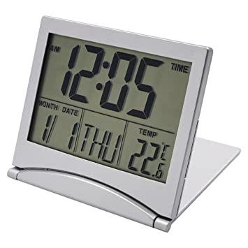 Portátil Despertador de Viaje Reloj Alarma Silencioso, EASEHOME Reloj Digital Función Snooze Relojes Despertadores Digitale con Gran Pantalla LCD ...