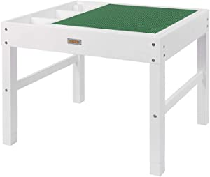 GOLOHO Large 2 in 1 Kids Activity Table with Storage for Older Kids Compatible with Lego, Building Block Wooden Activity Play Table, Gift for Kids, Boys, Girls (White)