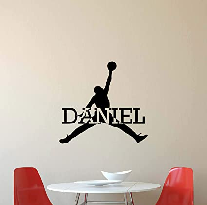 finest selection 3b396 488ff CarolGreyDecals Personalized Air Jordan Wall Decal Custom Name Sport  Basketball Poster Stencil Gym Wall Vinyl Sticker