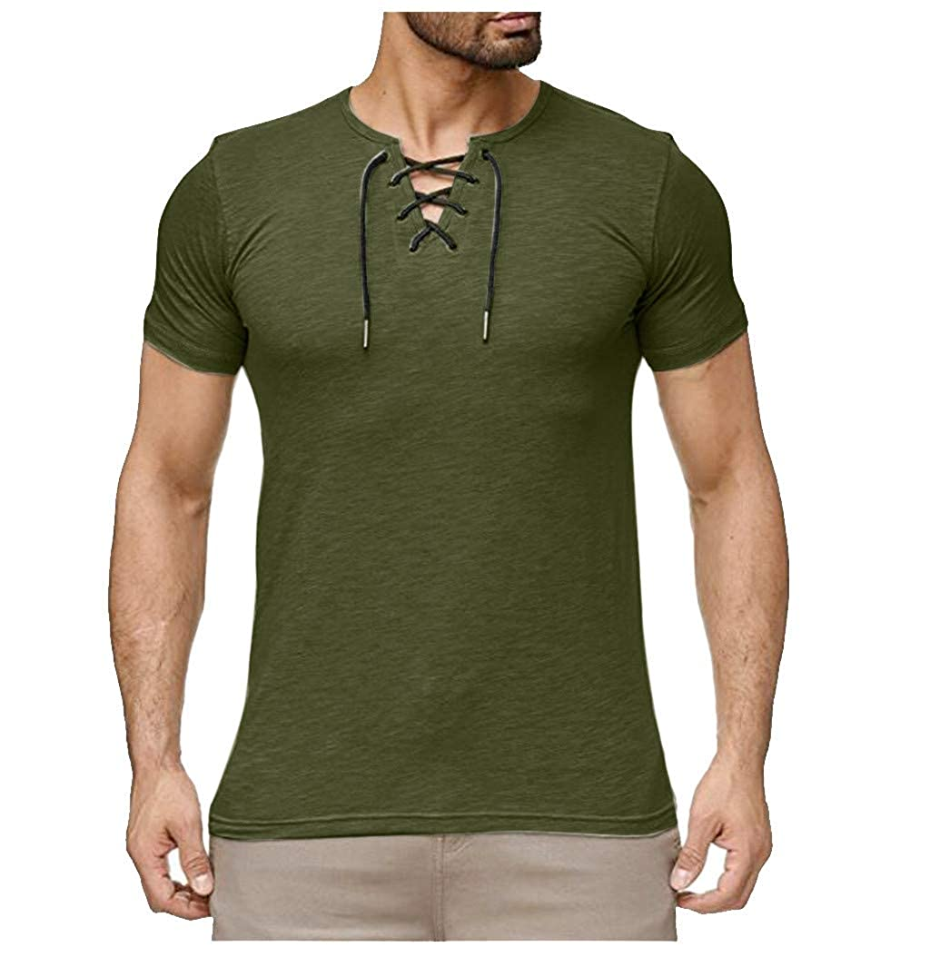 Summer Mens Short Sleeve Fashion Casual Comfort Solid Color Strap T-Shirt Blouse Teresamoon