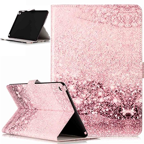 iPad Air 2 Case,ikasus Painted Marble PU Leather Fold Wallet Pouch Case Wallet Flip Cover Card Slots Stand Protective Case Cover for Apple iPad Air 2 / ipad 6 Case Cover,Rose Gold Marble