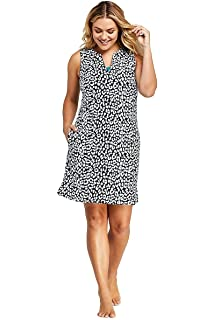 698a50f76c Lands' End Women's Plus Size Cotton Jersey Sleeveless Tunic Dress Swim Cover -up Print
