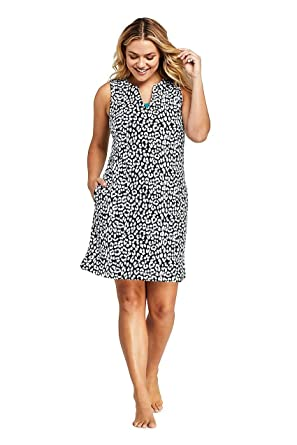 7f2aa2d27a Lands' End Women's Plus Size Cotton Jersey Sleeveless Tunic Dress Swim Cover-up  Print at Amazon Women's Clothing store: