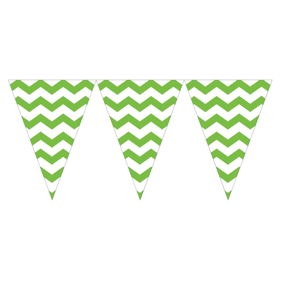 Creative Converting 290123 12 Count Chevron Flag Banner, Fresh Lime