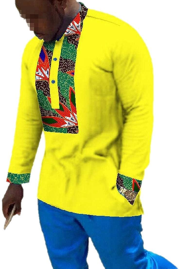 Alion Mens Dashiki African Print Tops Mulit-Color Batik Cozy T-Shirt