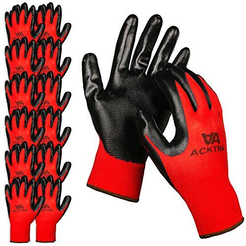 ACKTRA Nitrile Coated Nylon Safety WORK GLOVES 12 Pairs, Knit Wrist Cuff, Multipurpose, for Men & Women, WG003 Red Polyester, Black Nitrile, Medium (Dipped Nylon Gloves)