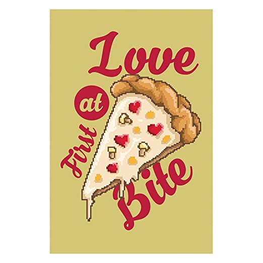 Elbster Pixel Arte del Cartel de Pizza Amor - Imagen Retro ...