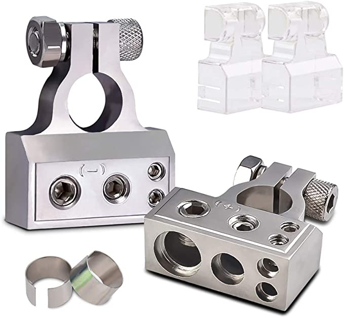 1 Pair-Positive and Negative 0//2//4//8//10 Gauge Zinc Alloy Battery Terminal Connectors with Spacer Shims for Auto Boat Use