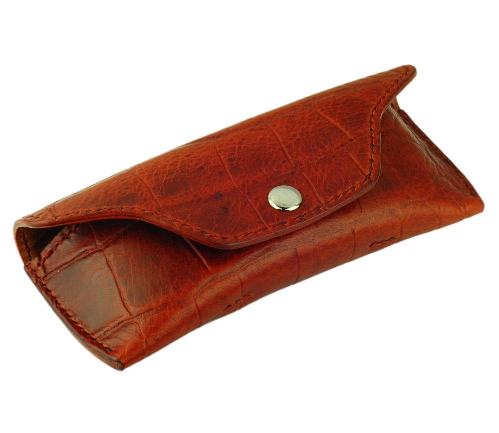 Leather Glasses Case, Crocodile Grain Leather, Mahogany, Handmade by Tom Barrington