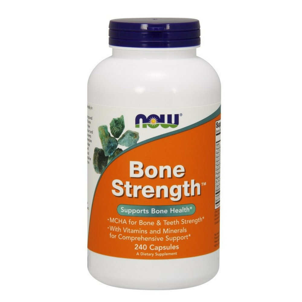 NOW Supplements, Bone StrengthTM with Microcrystalline Hydroxyapatite (MCHA), Magnesium and Vitamins C,D and K, 240 Capsules