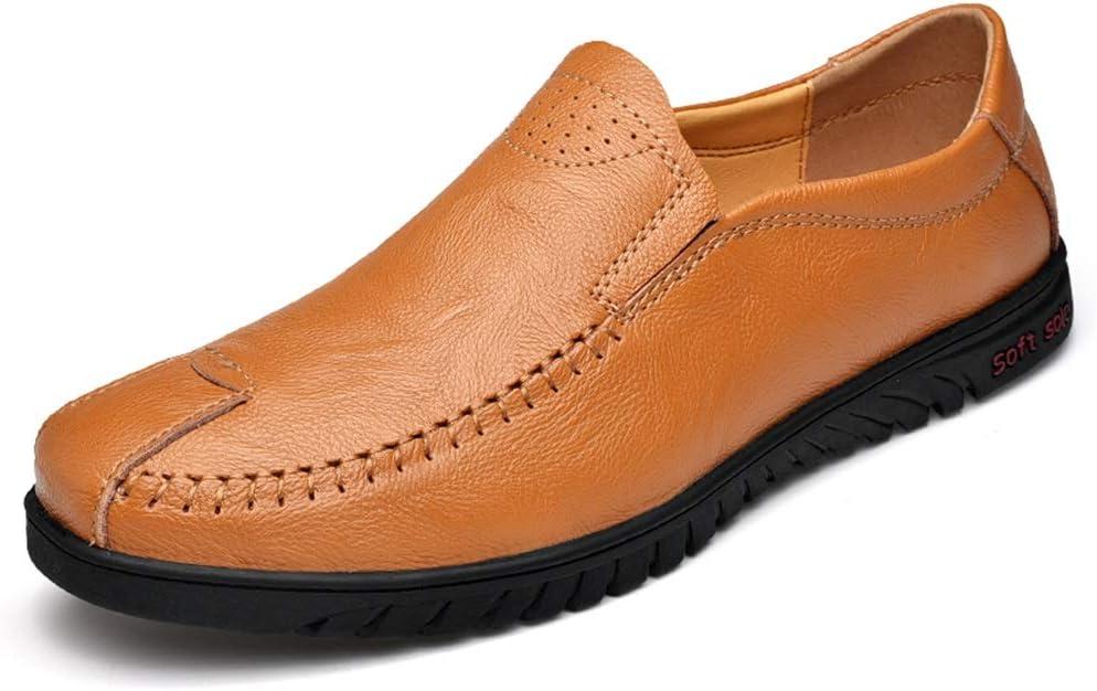 Zhulongjin Mocasines de punta redonda con punta redonda for hombres Zapatos casuales sin cordones for caminar Zapatos de cuero genuino Cintura baja Costuras hechas a mano Suela de goma Tacón plano Res: