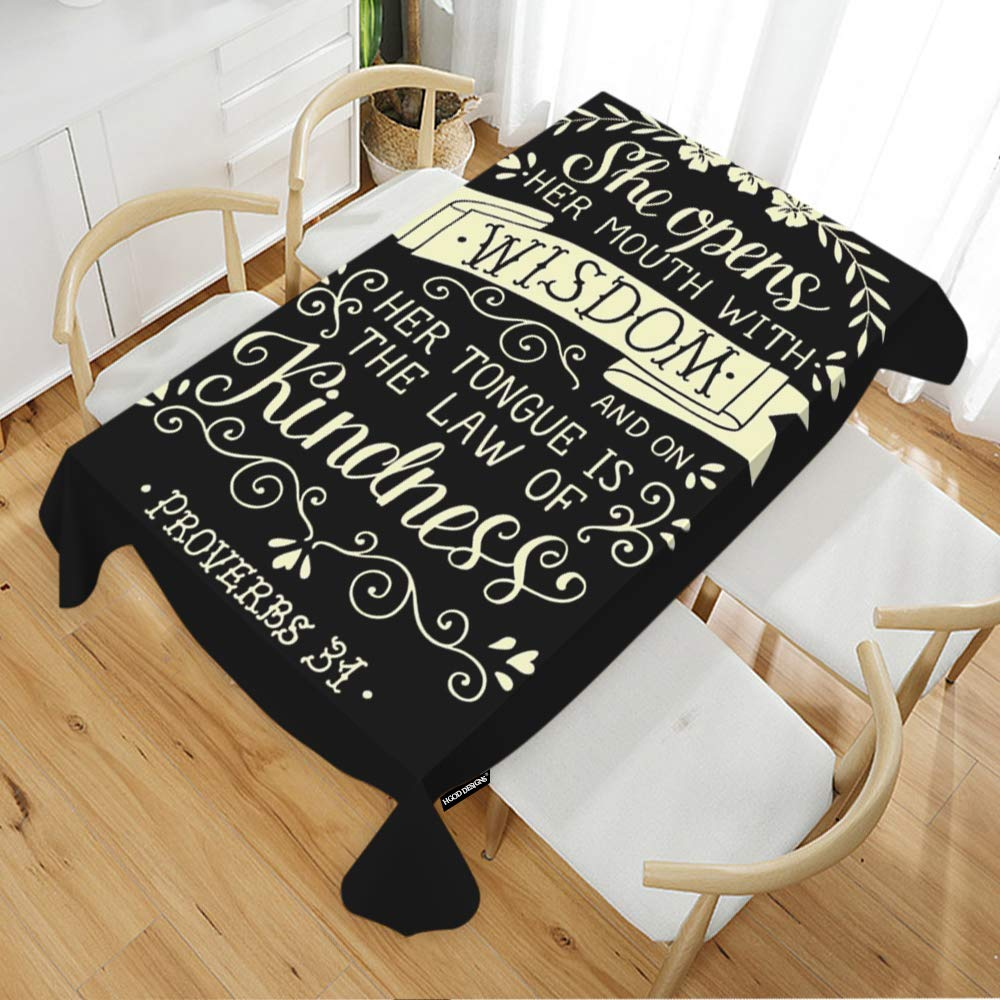 "HGOD DESIGNS Quote Rectangle Tablecloth,Philosophy Quote she Opens her Mouth with Wisdom Rectangular Table Cover for Kitchen Dining Room,60"" Wide x90 Long(150228CM)"