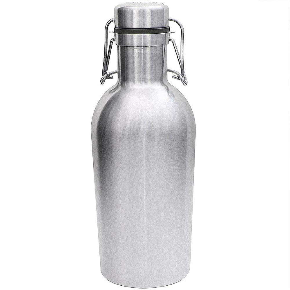 Kegco KC GR32DW-SS Double Wall Beer Growler, 32 oz, Stainless Steel