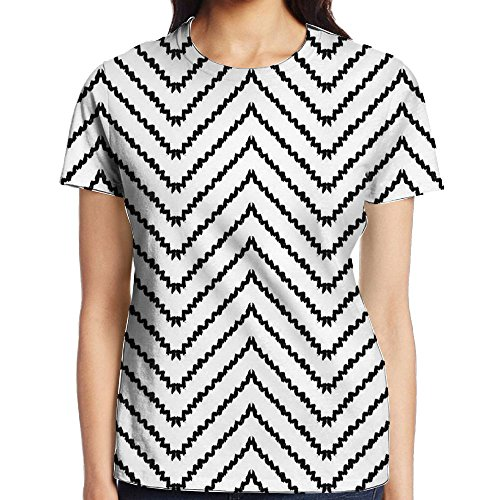 WuLion Geometric Triangle Zig Zag Triggering Lines Minimalist Pattern Women's 3D Print T Shirt M White