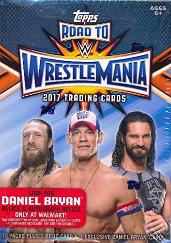 (2017 Topps WWE Road to Wrestlemania EXCLUSIVE Factory Sealed Retail Box with RELIC Card! Look for Cards, Relics & Autographs of WWE Superstars including Jon Cena, Sting, Ric Flair & More! Wowzzer!)