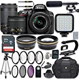 Nikon D5300 24.2 MP DSLR Camera (Black) Video Kit with AF-P 18-55mm VR Lens & AF-P 70-300mm ED VR Lens + LED Light + 32GB Memory + Filters + Macros + Deluxe Bag + Professional Accessories