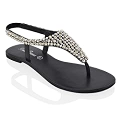b22741d120bb ESSEX GLAM Womens Diamante Pearl Toe Post Flat Sandals - Casual Women s  Shoes