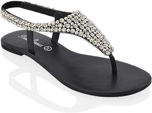 ESSEX GLAM Womens Flat Sandals Sparkly