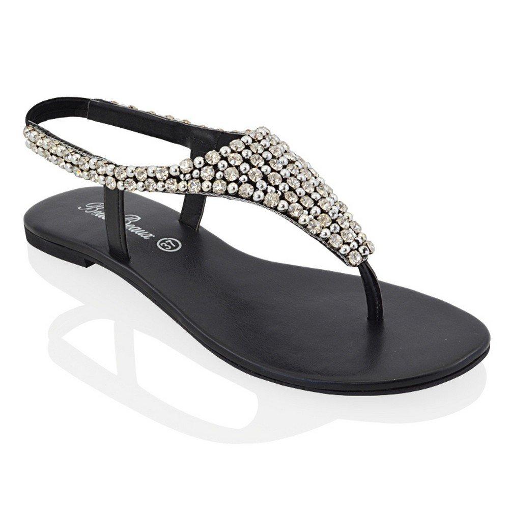 63ea592958c ESSEX GLAM Womens Flat Sandals Sparkly Crystal Rhinestones Pearl T-Strap  Flip Flops