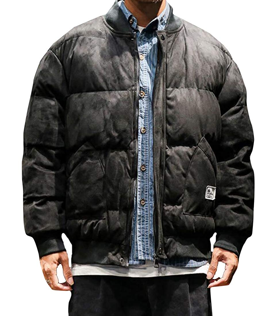 Suncolor8 Men Winter Thickened Loose Plus Size Full-Zip Down Quilted Coat Jacket