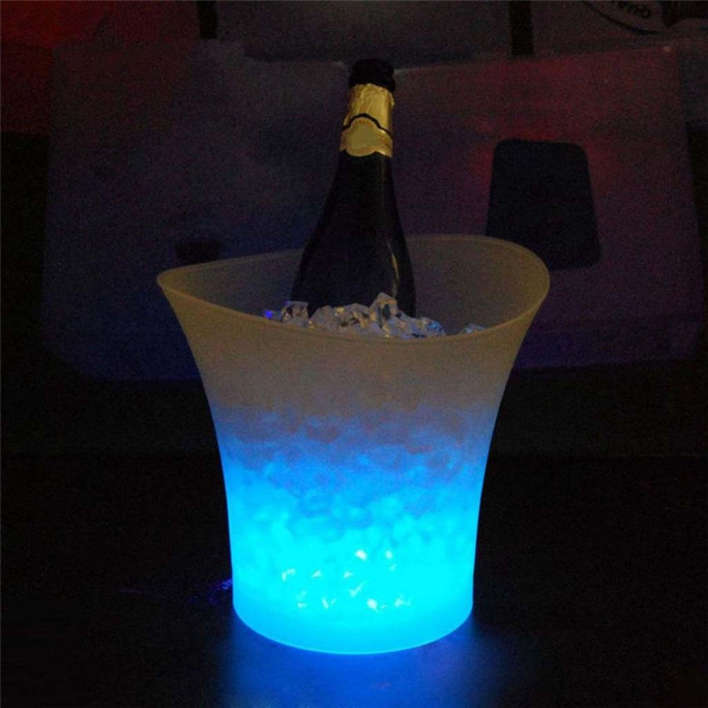 5L Waterproof LED Light Up Champagne Beer Ice Bucket for Bar Night Party KTV - White SoundsBeauty