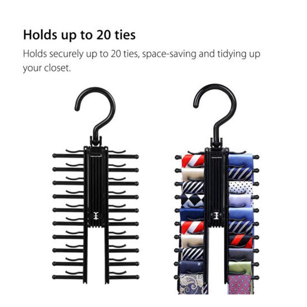 Free Walker Tie Rack Belt Hanger 2 Packs,360 Degree Rotating Cross X Hook 20 Ties Scarfs Compact Holder,Keep Your Stuff Neatly Displayed and Organized Balck 2pcs