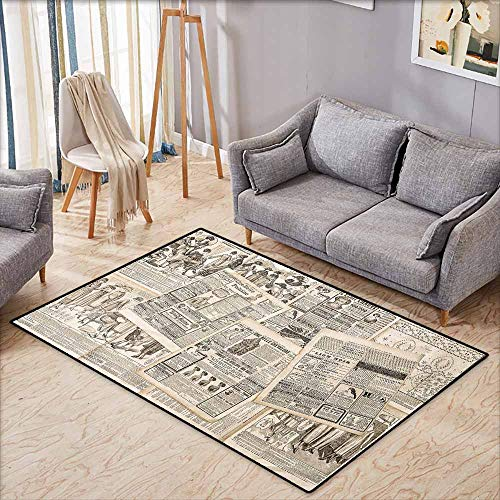 Antique Oushak Rug - Outdoor Patio Rug,Old Newspaper Decor Nostalgic Aged Pages with Antique Advertising Fashion Magazines Print,Anti-Slip Doormat Footpad Machine Washable,3'11