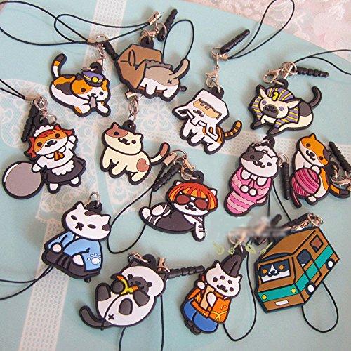 Japanese Game Neko Atsume ねこあつめ Cat Backyard Rubber Keychain Pendant Dust  Plug Gift 13pcs set 0a36119c27cd8