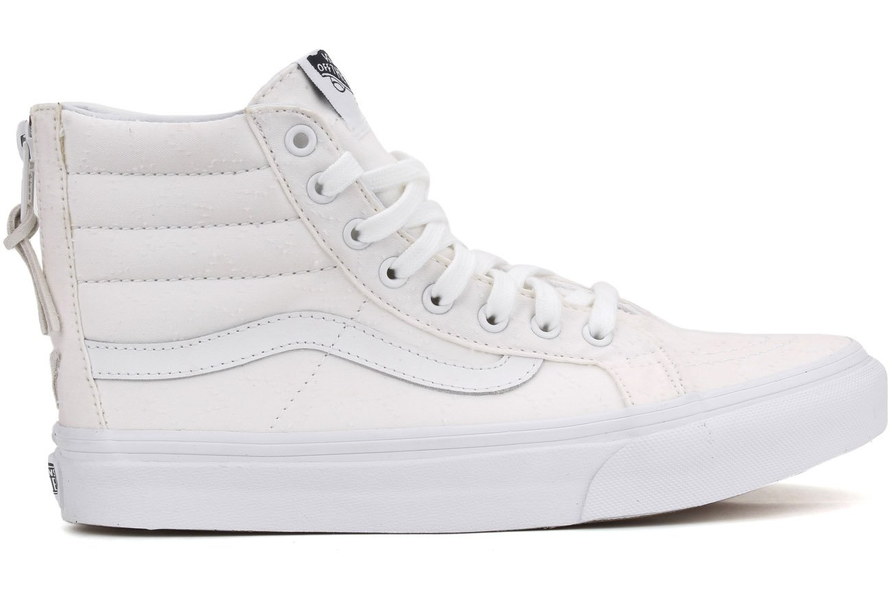 Vans Unisex Leather SK8-Hi Slim Zip Sneaker B019KZGQMQ 5 B(M) US Women / 3.5 D(M) US Men|TRUE WHITE/TRUE WHITE