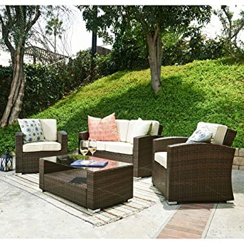 The Hom Bahia 4 Piece Outdoor Wicker Coversation Sofa Set In Brown