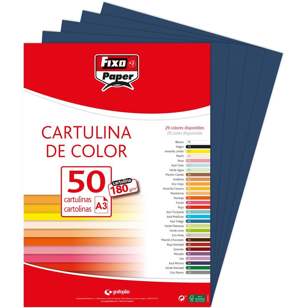50 unidades color marr/ón Fixo Paper 11110340 180g Paquete de cartulinas A4