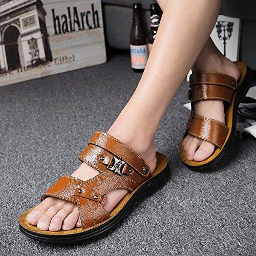 Das neue Sommer Echtleder Männer Sandalen Freizeit Schuh Männer England Schuh Leder Sandalen Strand Schuh Trend ,braun ,US=9.5,UK=9,EU=43 1/3,CN=45