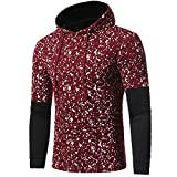 Alalaso Mens' Patchwork Hoodie, Autumn Winter Hooded Sweatshirt Tops Blouse (Red,XL)