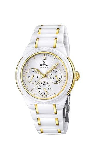 Festina F16699/2 - Reloj de pulsera mujer, cerámica, color blanco: Amazon.es: Relojes