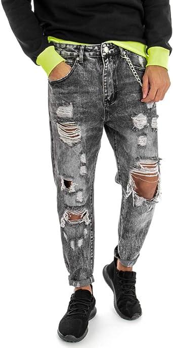 Pantalone Uomo Cinque Tasche Jeans MOD Denim Rotture Strappato Cavallo Basso ...