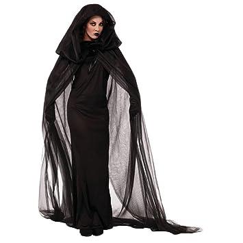 GWELL Damen Halloween Kostüm für Erwachsene Schwarz Lang Geist ...