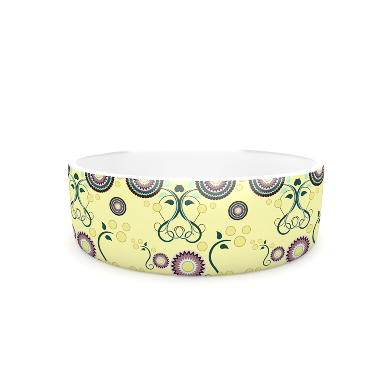 Kess InHouse Mydeas Spring Florals Pet Bowl, 7-Inch, Yellow Multicolor
