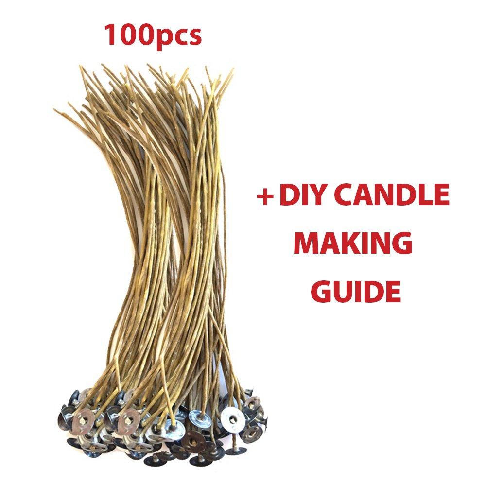 "CozYours 8"" BEESWAX HEMP CANDLE WICKS 100 pcs; ORGANIC & NATURAL; Candle Wicks For Candle Making. Candle DIY HACKS E-BOOK INCLUDED"