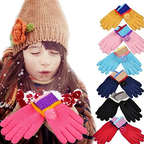 COFFLED Pack of 6 Winter Girls Warm Mittens for 2-7 Years Kids Hand Protection; Children Insulated Snow Adjustable Skis Gloves