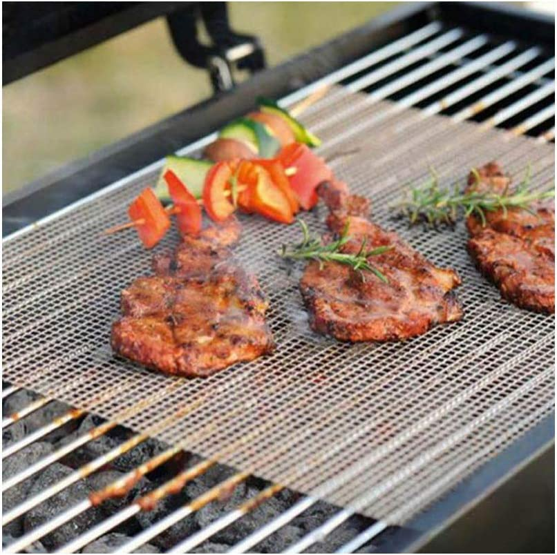 WW Camping en Plein air Fournitures de Pique-Nique en Fibre de Verre Outils de Barbecue antiadhésif Barbecue Grill Tapis 40 * 33 cm bord noir