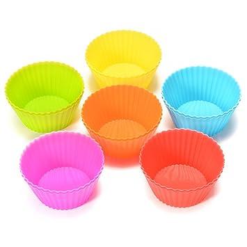 Yiwa 12 / 24 Unidades Moldes de Silicona Reutilizable para Cupcakes, Magdalenas, Pastel,