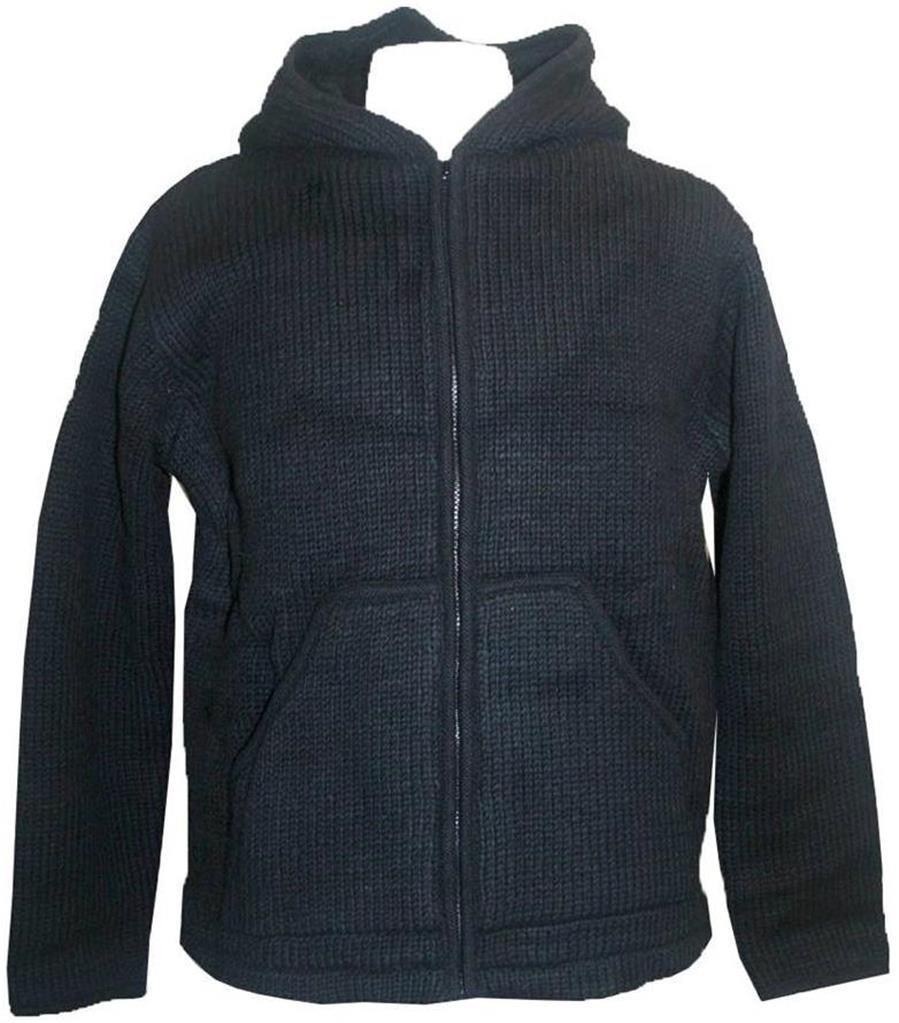 UFM- 1 Wool Winter Sherpa Hoodie Sweater Coat Jacket (XX-Large, UFM1BK)